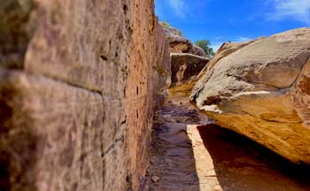 Hiking trail among rocks in Canyonlands' Needles District.