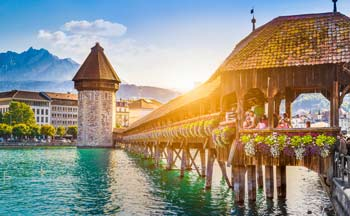 The Kapellbrücke (Chapel Bridge) in Lucerne, Switzerland.