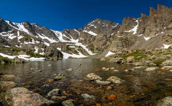 An alpine lake in Rocky Mountain National Park.